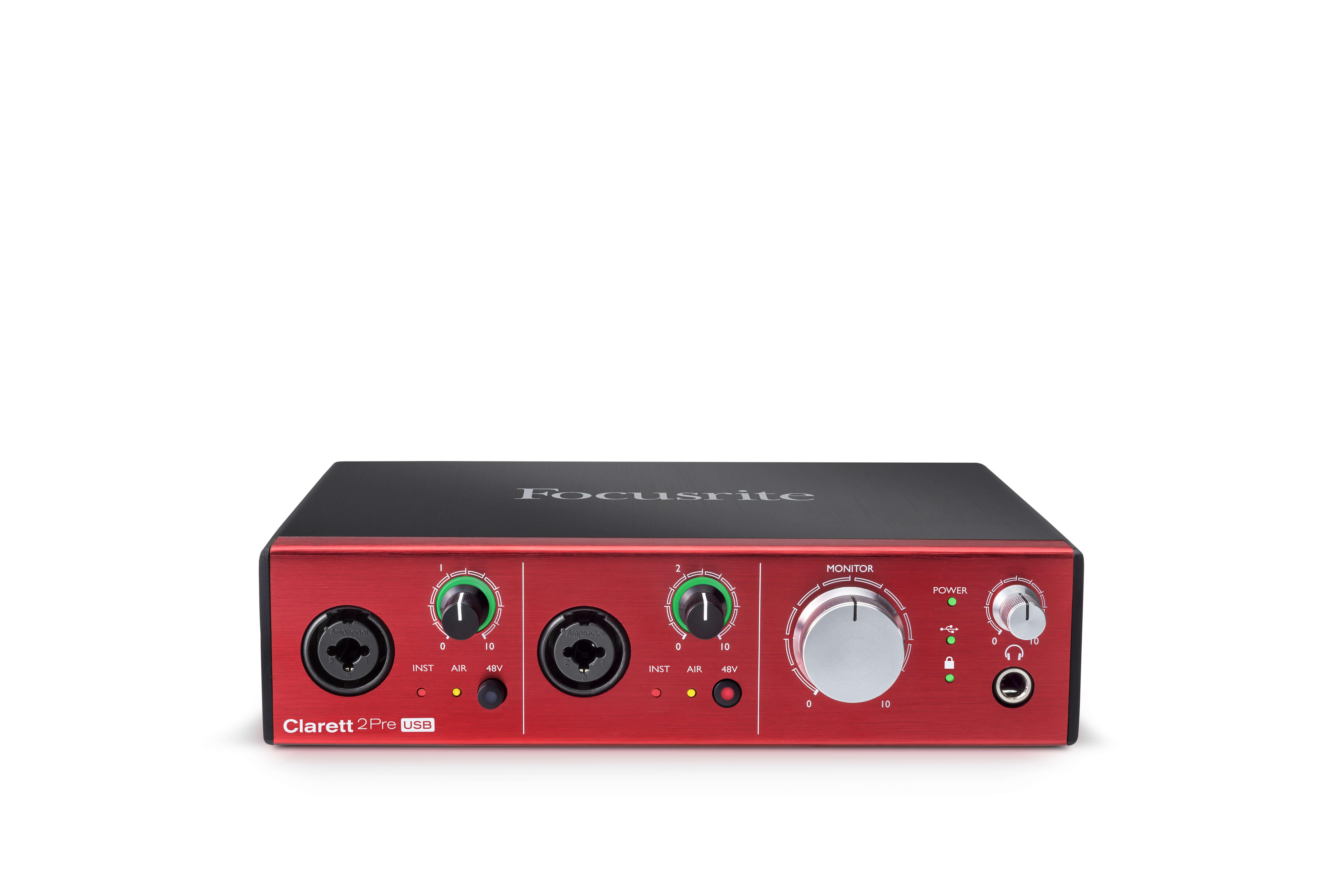 focusrite clarett 2pre usb hero audio interface - elevated