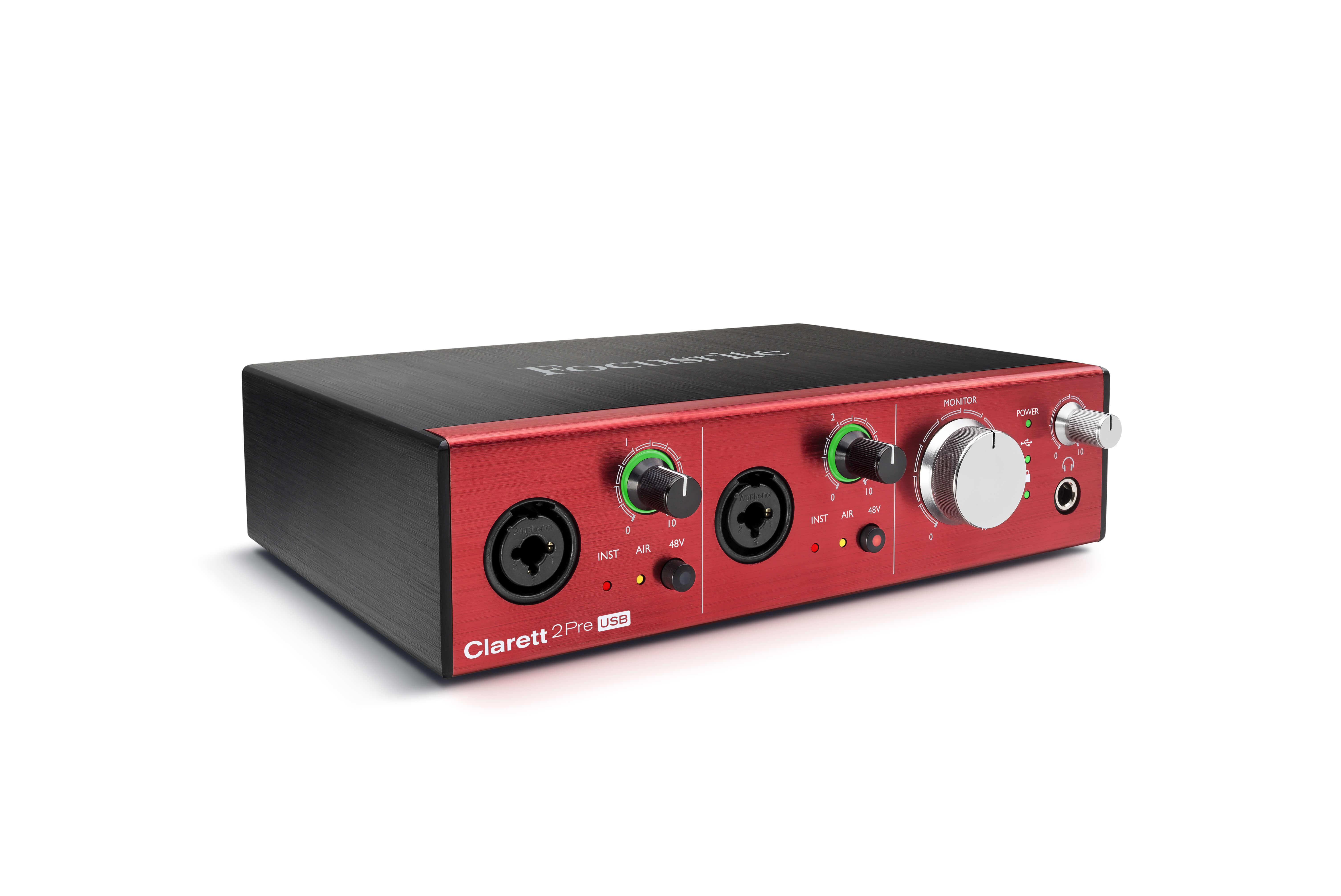 focusrite clarett 2pre usb hero audio interface - right