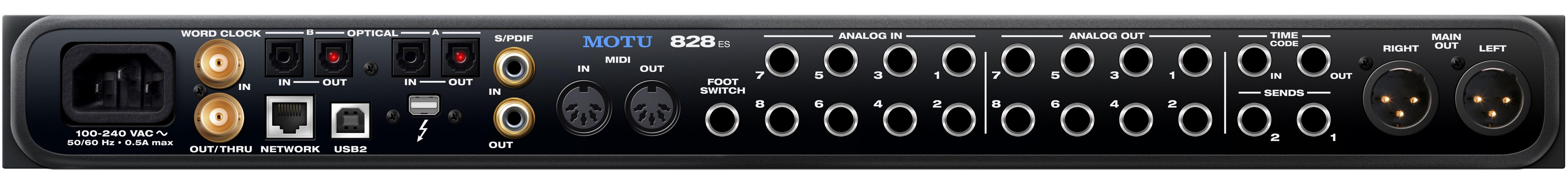 motu 828es audio interface - back